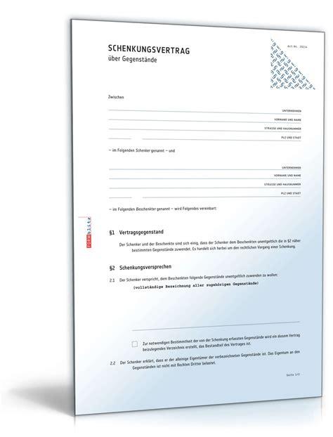 Schenkungsvertrag Auto by Schenkungsvertrag Gegenstand Muster Zum Download