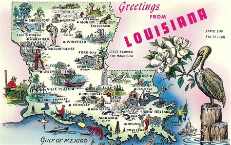 louisiana map cards greetings from louisiana post card search