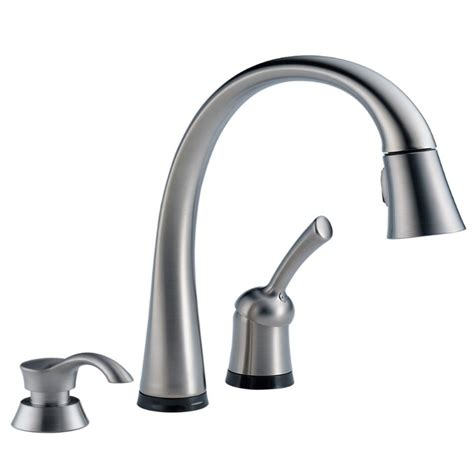 delta stainless steel kitchen faucet delta 980t arsd dst pilar arctic stainless steel one handle pull kitchen faucet with soap
