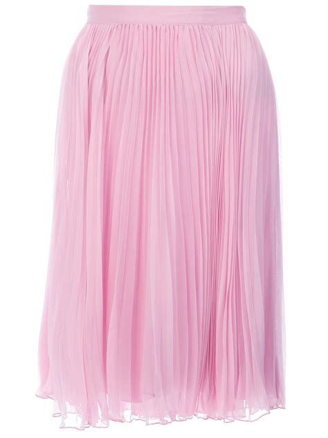 ralph blue label pleated midi skirt in pink lyst