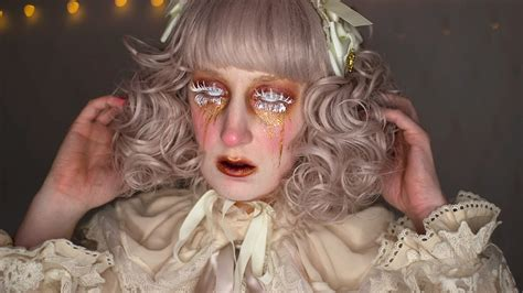 creepy broken doll hair makeup and costume tutorial creepy victorian broken doll lolita makeup tutorial youtube