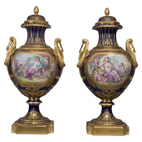 Sevres Vases For Sale by Pair Of S 232 Vres Style Cobalt Blue Ground Porcelain Vases