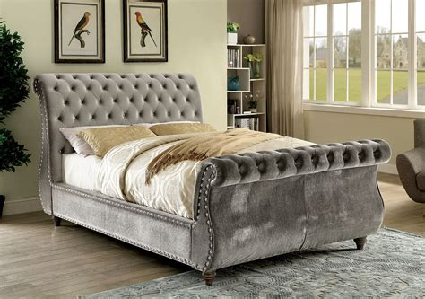 Fabric Sleigh Bed Furniture Of America Noella Fabric Upholstered Sleigh Bed In Gray Finish Ebay