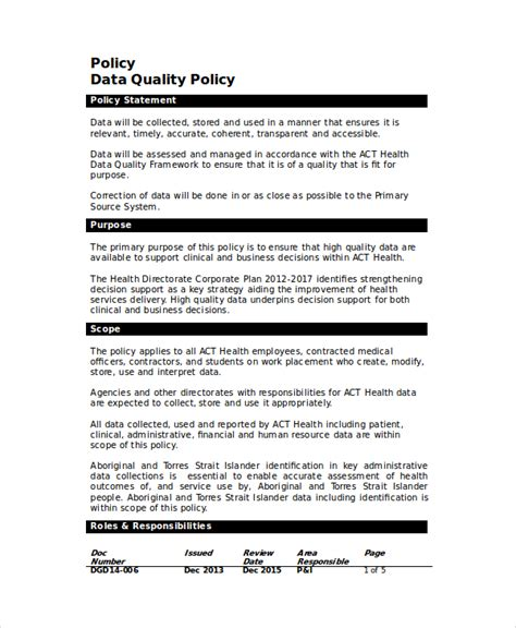 Data Quality Template quality policy template 8 free word pdf documents free premium templates