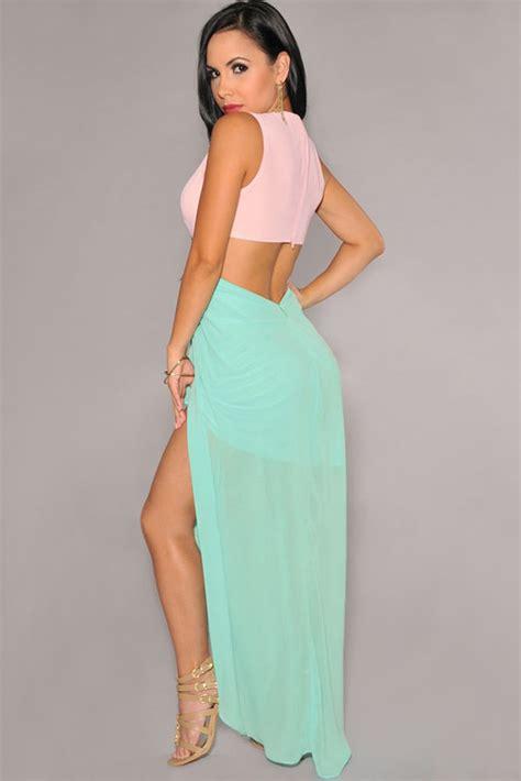 41345 Flower With Slit S M L Dress cheap wholesale pink green cut out side slit maxi dress