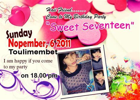 desain kartu undangan ulang tahun sweet seventeen frullyosefarno desain undangan sweet seventeen