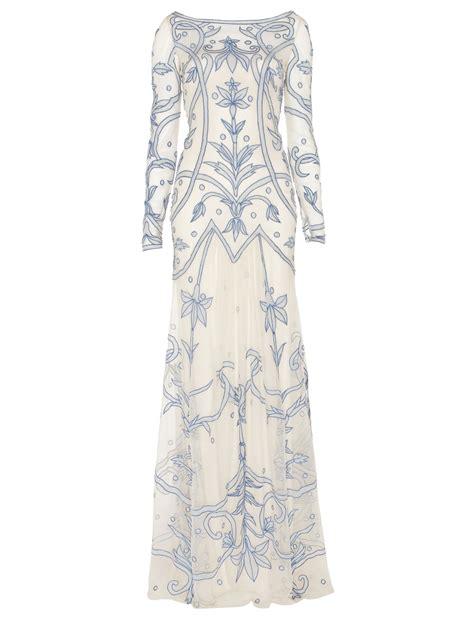 temperley london tattoo dress temperley london long francine tattoo dress in gray