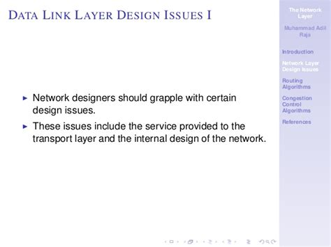 design issues of data link layer the network layer