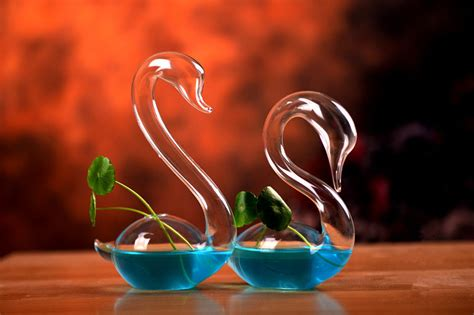 Glass Swan Vase by 1 Pair Blown Glass Swan Clear Bud Vase Or Plant Clippings