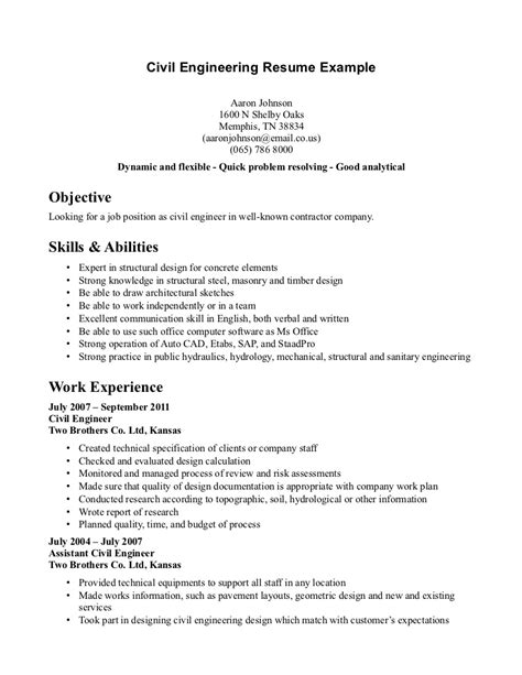 engineering student resume sles civil engineering student resume http www resumecareer