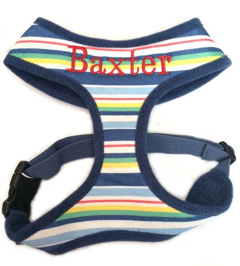 personalized harness soft pet harness personalized with name custom embroidered blue striped or coral
