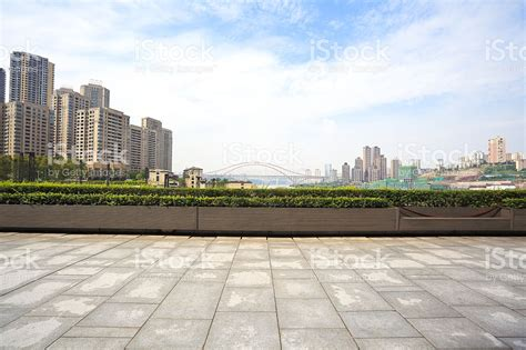 The Plaza Floor Plans by Empty Marble Floor With City Building Background Stock