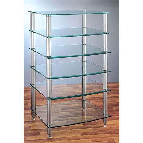 Glass Audio Rack Vti 6 Shelf Audio Rack With Glass Shelves Agr406s Silver Poles