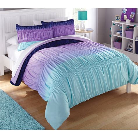 purple ruched comforter latitude ombre ruched reversible complete bedding set