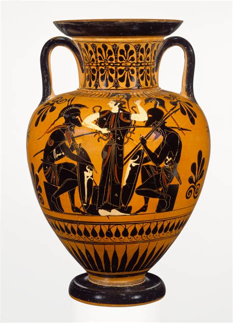 Athenian Vase by Attic Black Figure Neck Hora Getty Museum