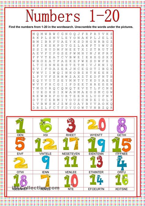 printable word games in english numbers wordsearch esl worksheets of the day