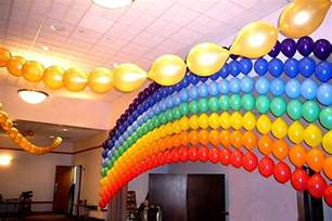 Party Decorations Music Theme - rainbow balloon arch