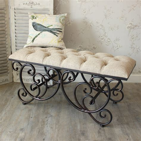 upholstered bench with wrought iron legs ornate upholstered bench melody maison 174