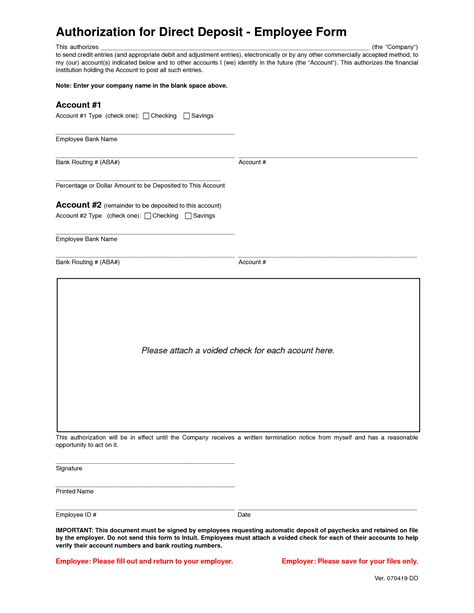 vendor direct deposit authorization form custom goods llc