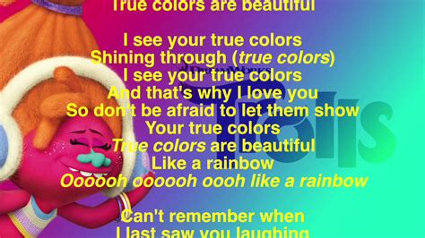 true colors lyrics version trolls soundtrack