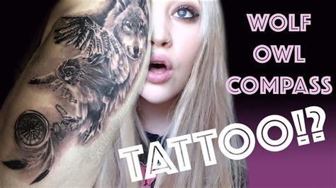 wolf owl compass tattoo youtube