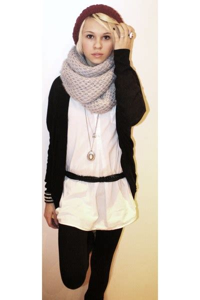hats black cardigans gray scarves white blouses