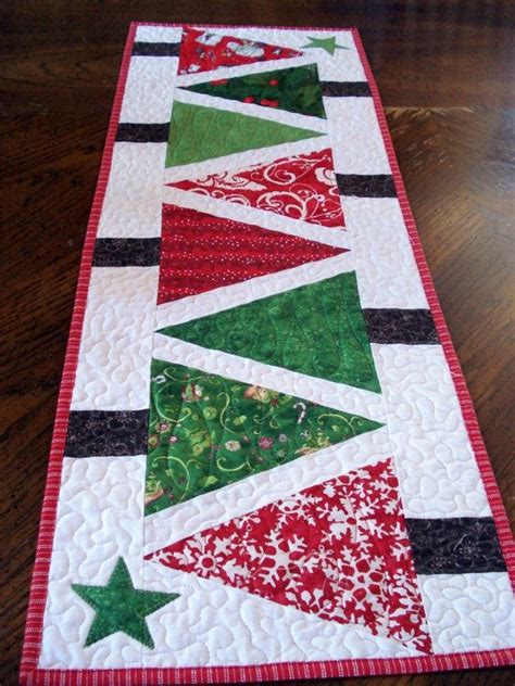 tree table runner quilted table runner modern trees narrow by