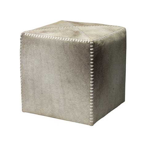 Small Leather Ottoman District17 Grey Leather Hide Small Ottoman Poufs