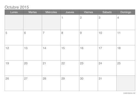 Calendario De Octubre 2015 Calendario Octubre 2015 Para Imprimir Icalendario Net
