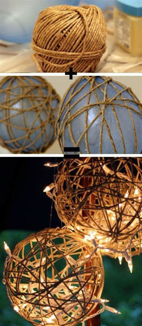 diy decorations for outside twine lanterns diy garden lighting ideas
