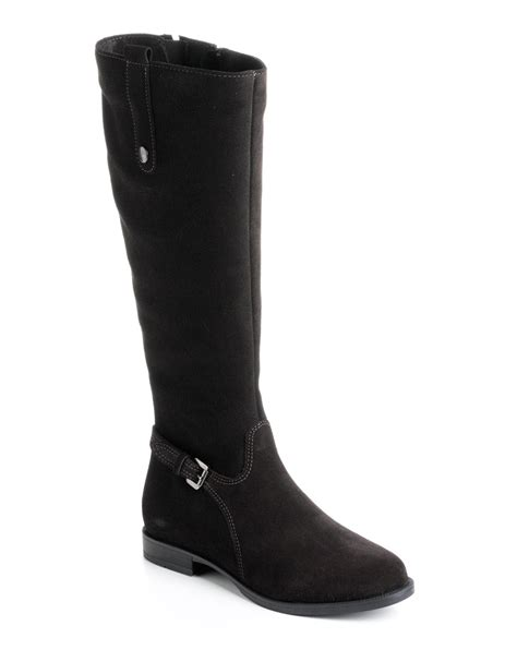 la canadienne boots lyst la canadienne lori suede boots in black