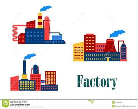 design icon factory flat factory and plants icons stock vector image 43620069