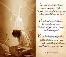 christian sympathy cards god saw him getting tired and a cure was not to be he wrapped him in