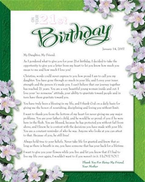 In Birthday Letter Patrice B 21st Birthday Letter From To