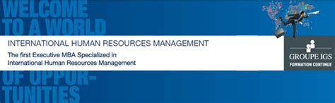 Mba Hr Cloud by Groupe Igs Emba In International Hr Management