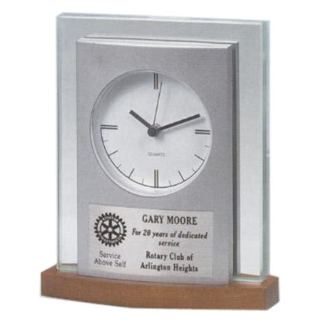 personalized silver desk clock national award services