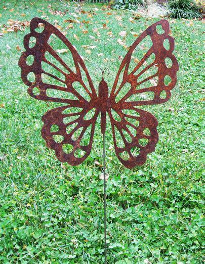 Garden Metal Decor Butterfly Garden Stake Garden Decor Garden Rust