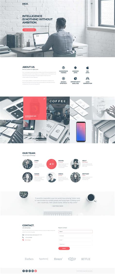 one page layout wordpress free nick design one page agency website template free