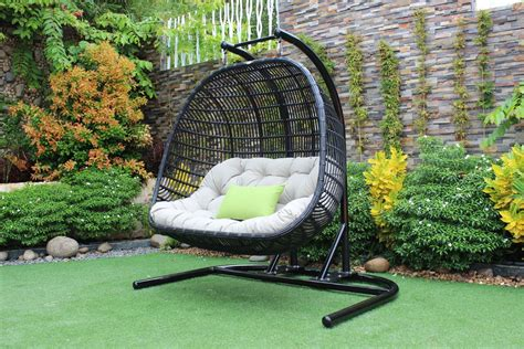 Patio Hanging Chair Renava San Juan Outdoor Black Beige Hanging Chair Outdoor