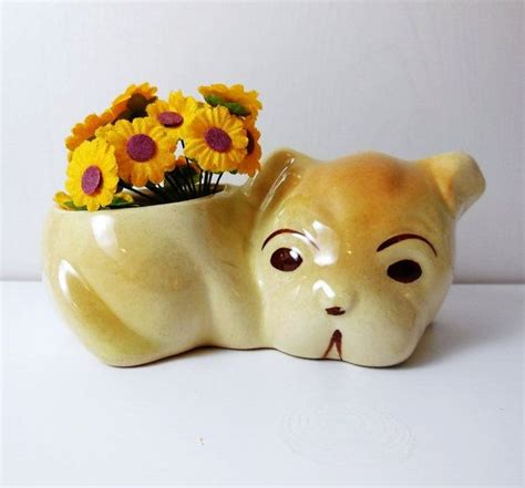 pug planter pug puppy planter vintage pug puppies planters and pottery