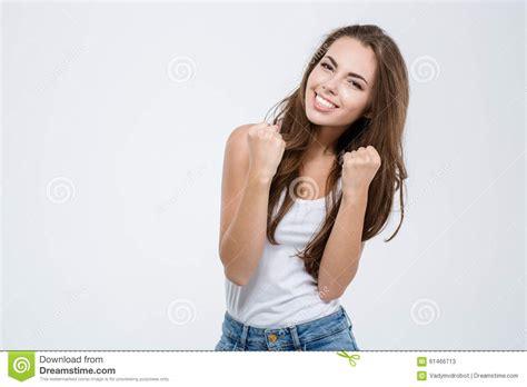 imagenes mujer alegre mujer alegre que celebra su 233 xito imagen de archivo