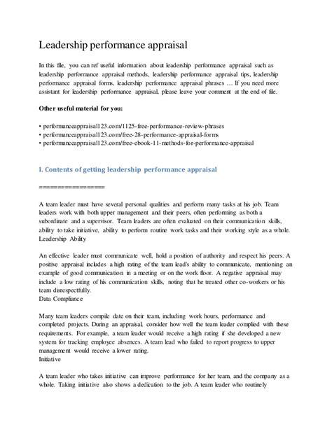 Appraisal Delivery Letter leadership performance appraisal