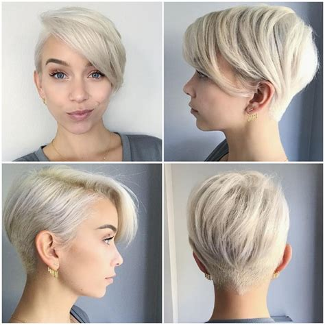 pics of womens hair cuts that are shorter in the back n longer in front womens short undercut hairstyles pixie pinterest