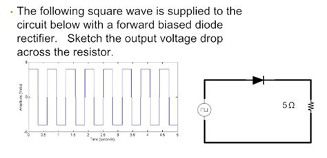 rectifier diode voltage drop the following square wave is supplied to the circu chegg