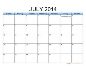 July 2014 Calendar Template by Best Photos Of Printable Monthly Calendar Template July