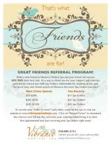 referral flyer template vip referral program vibrance spa