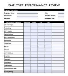 work performance evaluation template free employee evaluation forms
