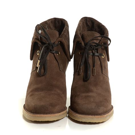 louis vuitton suede fauvist low boots 37 5 brown 107974