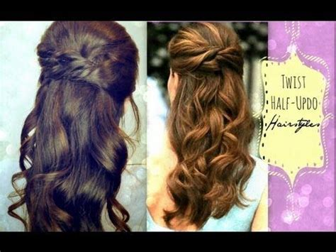 collage youtube video hair tutorial easy half updos long wavy easy twist crossed hairstyles half up ponytail updo