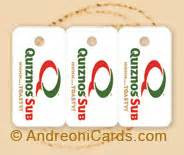 Quiznos Gift Cards - plastic card design sles